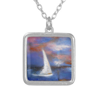 Sunset Harbor Sail Seascape Painting Silver Plated Necklace