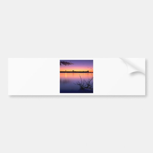 Sunset Harbour Night Bumper Stickers