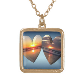 Sunset Hearts Square Pendant Necklace