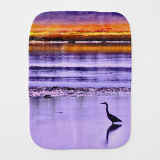 Sunset Heron Burp Cloth