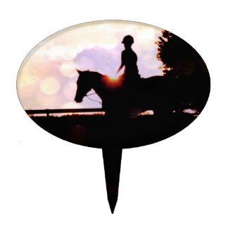 Sunset Horse Ride Cake Toppers