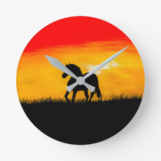 sunset horse round clock