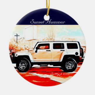 """Sunset Hummer"" © 2010 S.J. Ceramic Ornament"