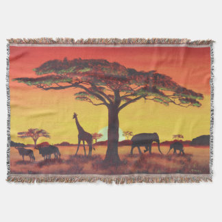 Sunset in Africa Throw Blanket