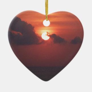 Sunset in Bali Ceramic Heart Decoration