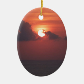 Sunset in Bali Ceramic Oval Decoration