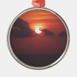 Sunset in Bali Silver-Colored Round Decoration