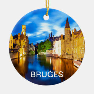 Sunset in Bruges. Belgium Ceramic Ornament