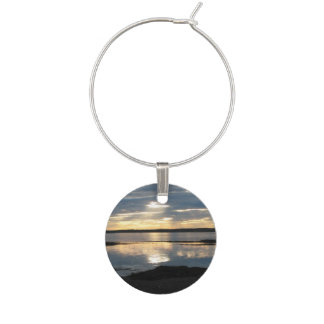 Sunset in Maine Wine Glass Charm
