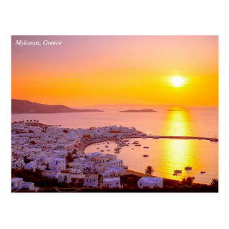 Sunset in Mykonos, Greece Postcard