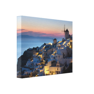 Sunset in Oia Greece Canvas Print