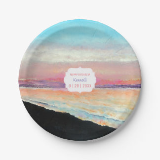 Sunset In Pastels On | Paper Plate
