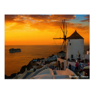 Sunset in Santorini, Greece - OiaWindmill Postcard