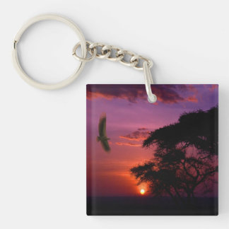 Sunset In Serengeti, Africa Double-Sided Square Acrylic Key Ring