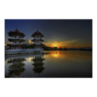 Sunset in Singapore Chinese Garden Poster