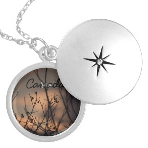 Sunset in the Background; Yukon Territory Souvenir Necklace