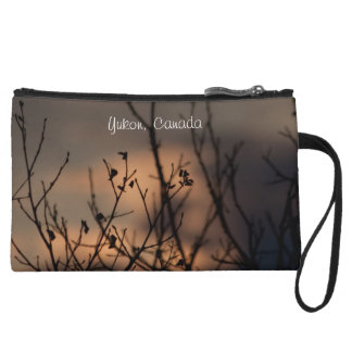 Sunset in the Background; Yukon Territory Souvenir Wristlet Clutch
