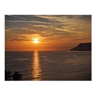 Sunset in the Cinque Terre, Italia Postcard