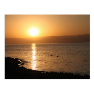 Sunset in the dead sea postcard