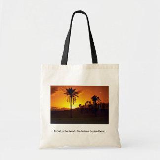 Sunset in the desert, The Sahara, Tunisia Desert Tote Bags
