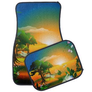 Sunset in the fantasy world car mat
