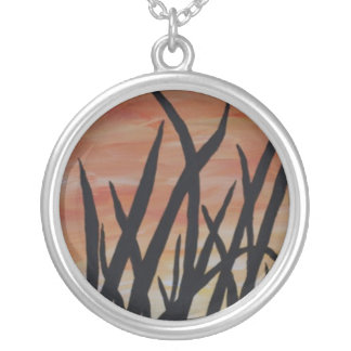 Sunset in the Grass Round Pendant Necklace