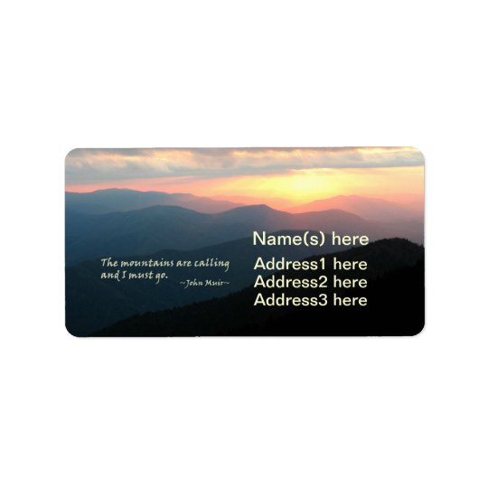 Sunset in the Smokies: Mtns are calling / Muir Address Label