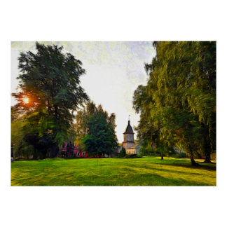 Sunset in the Spaso-Andronicus Monastery of Moscow Poster