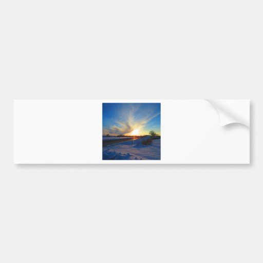 Sunset in the winter bumper stickers