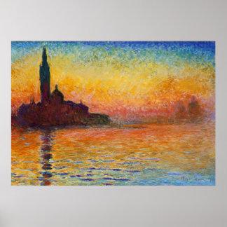Sunset in Venice, Claude Monet Poster