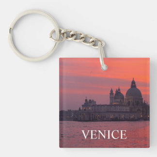 Sunset in Venice Double-Sided Square Acrylic Key Ring