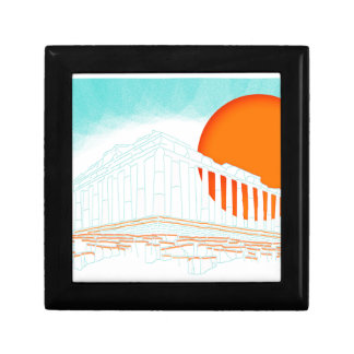 sunset inside Parthenon Small Square Gift Box