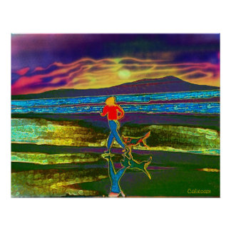 Sunset Jog with a dog... Poster