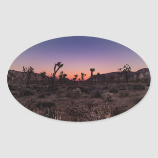 Sunset Joshua Tree National Park Oval Sticker