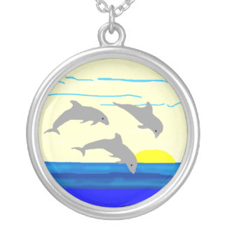 Sunset Jumping Dolphins Necklace Round Pendant Necklace