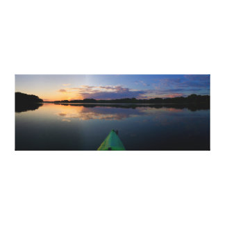 "Sunset Kayak  |  60""x23"" Canvas Print"