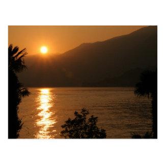 sunset ~ lake como postcard