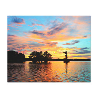 Sunset Lake Landscape Photo Canvas Canvas Print