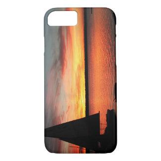 Sunset lake sailboat phone cover