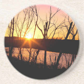 Sunset Lake Wilson Kansas Beverage Coaster