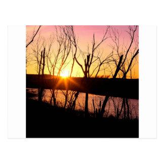 Sunset Lake Wilson Kansas Postcard