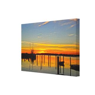 Sunset Landing Skull Creek Boathouse Hilton Head Canvas Print