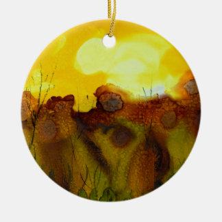 Sunset landscape round ceramic decoration