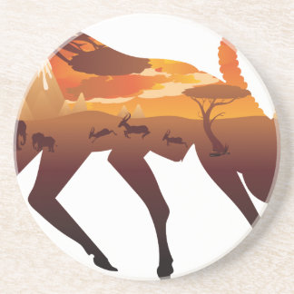 Sunset Landscape with Antelopes 2 Coaster