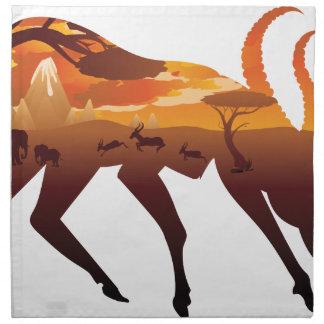 Sunset Landscape with Antelopes 2 Napkin