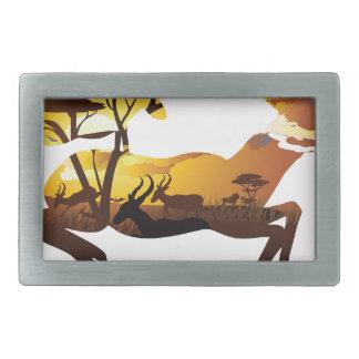 Sunset Landscape with Antelopes 3 Belt Buckle