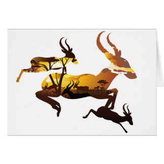 Sunset Landscape with Antelopes 3 Card