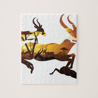 Sunset Landscape with Antelopes 3 Jigsaw Puzzle
