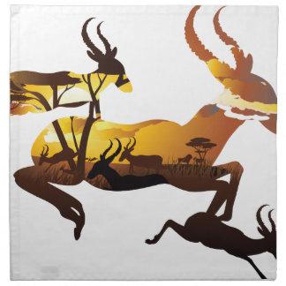 Sunset Landscape with Antelopes 3 Napkin