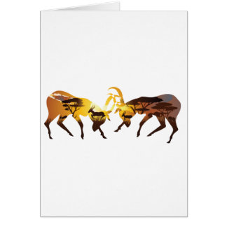 Sunset Landscape with Antelopes Card